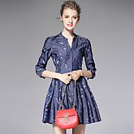 AFOLD® Damen V-Ausschnitt 3/4 Ärmel Mini Kleid-C6046
