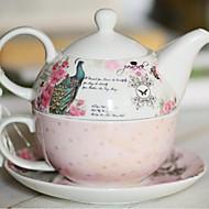 novo dom porcelana de ossos define copos casal presente do copo de café tem um pavão curto pot prato de três peças