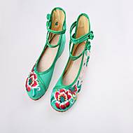 Women's Spring / Summer / Fall Round Toe Canvas Casual Flat Heel Buckle Black / Green / Red