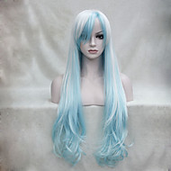 "White And Light blue Mix Anime Cosplay Costume 32"" Long Wavy Wig"
