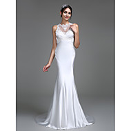 Lanting Bride® Trumpet / Mermaid Wedding Dress Court Train Jewel Charmeuse with Appliques / Button