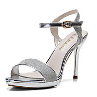 Women's Sandals Open Toe Glitter Platform Shoes Stiletto Heel Sequin Buckle with Silver/Gold Colors