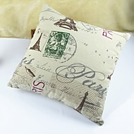 Eiffel Tower Print Cotton/Linen Pillow Cover