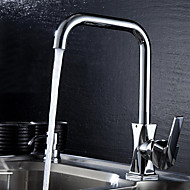 現代風 標準スパウト デッキマウント 回転可 with  セラミックバルブ シングルハンドルつの穴 for  クロム , 水栓