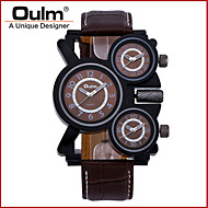 Oulm Men's Military Watch Three Time Zones Quartz Genuine Leather Band Cool Luxury Black Brown