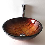 Moderní T12*Φ420*H145MM Kulatý dřez Materiál je Tvrzené skloKoupelnový dřez / kohoutek do koupelny / Montážní kroužek do koupelny /