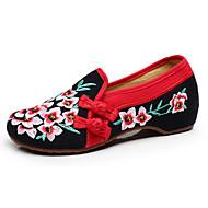 Damen-Flache Schuhe-Lässig-Leinwand-Flacher Absatz-Komfort Bestickte Schuhe-Schwarz Grün