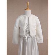 아동 랩 코트 / 재킷 긴 소매 모조 모피 아이보리 웨딩 파티/이브닝 캐쥬얼 스쿱 34cm 무늬 오픈 프론트