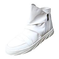 Kényelmes-Lapos-Női cipő-Csizmák-Alkalmi-PU-Fekete / Fehér