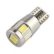 10pcs HRY® T10 5630 6SMD White LED bulbs For Parking Lights License Plate Lights Interior Lights