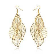 Women's Gold Hollow Leaf Drop Earrings