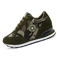 Podpatky-Plátno / Zvířecí kožešinka-Na klínu / Pohodlné-Dámská obuv-Modrá / Zelená-Běžné-Plochá podrážka