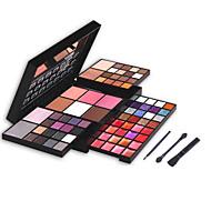 74 Blush+Sombra para Olhos+Gloss Labial+Espelho / Pincéis de Maquiagem Secos Olhos / RostoGloss com Purpurina Brilhante / Gloss Colorido