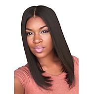 nueva separación de color negro azabache centro de la longitud media peinados pelucas rectas naturales de primera calidad