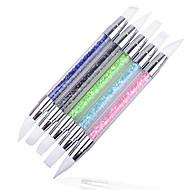 Caneta de manicure 5pcs / set com borracha acrílica de silicone borracha dupla gravura em relevo caneta oca