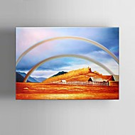 Hand-Painted Modern Pastoral scenery after the rain rainbow Landscape Oil Painting With Frame Ready to Hang