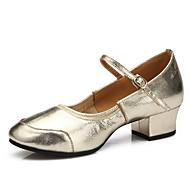 Obyčejné-Dámské-Taneční boty-Latina / Moderní-Kůže-Rovná podrážka-Stříbrná / Zlatá