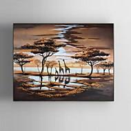 Pintados à mão Paisagem / Animal / Fantasia / Paisagens Abstratas Pinturas a óleo,Modern / Clássico / Pastoril / Estilo Europeu 1 Painel