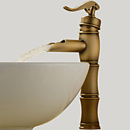 Traditional Vessel Waterfall with  Ceramic Valve Single Handle One Hole for  Antique Brass , Bathroom Sink Faucet