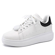 Women's Flats Spring / Fall Round Toe / Flats PU Casual Flat Heel Others / Lace-up White / Black and White Others