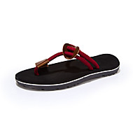 Men's Slippers & Flip-Flops Summer Canvas Casual Flat Heel Braided Strap Black Brown Red Khaki Other