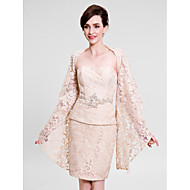 Lanting Bride Sheath / Column Mother of the Bride Dress Knee-length Sleeveless Lace with Lace