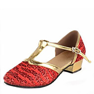 Latin Kid's Dance Shoes Sandals Paillette Cuban Heel Gold/Red