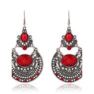 2016 New Arrival Ethnic Style Long Dangle Earrings Vintage Red Rhinestone Hollow Carved Bohemian Earrings Women Jewelry