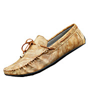 Herre-PU-Flat hæl-Mokkasin-一脚蹬鞋、懒人鞋-Fritid-Brun Grå