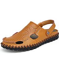 Men's Sandals Summer Leather Casual Flat Heel Others Black Blue Brown Walking