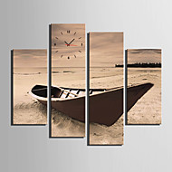 E-HOME® The Old Wooden Boat On The Beach Clock in Canvas 4pcs