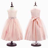 Ball Gown Tea-length Flower Girl Dress - Organza / Satin Sleeveless Jewel with Beading / Lace