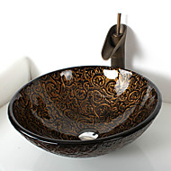 Starožitný T19*Φ425*H150MM Kulatý dřez Materiál je Tvrzené skloKoupelnový dřez / kohoutek do koupelny / Montážní kroužek do koupelny /