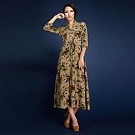 BORME® Damen V-Ausschnitt 3/4 Ärmel Maxi Kleid-LYQ003YE