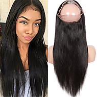 Indian Virgin Human Hair 360 Lace Band Frontal Closures Straight Ear To Ear 360 Lace Frontal Closures With Baby Hair