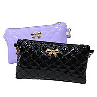 Women Patent Leather Bow Clutch Envelope Icon Embroider Line Casual  Clutch Checkbook Wallet Money Clip Shoulder Bag