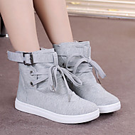 Women's Boots Canvas Fall Winter Casual Flat Heel Black Gray Flat
