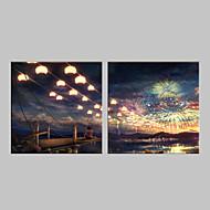 e-HOME® roztažený vedl na plátně umělecké Ohňostroj Blesk efekt blikání optické vlákno tiskovou sadu 2