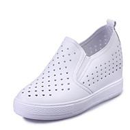 נשים-נעליים ללא שרוכים-דמוי עור-פלטפורמות / נוחות-שחור / לבן-שטח / קז'ואל / ספורט-עקב וודג'