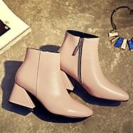 Støvler-LæderDame-Sort Rosa Rød-Fritid-Tyk hæl