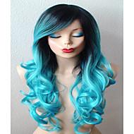 Mulher Perucas sintéticas Longo Enrolado Smoke Blue Raízes Escuras Cabelo Ombre Parte lateral Com Franjas Perucas Capless Peruca de