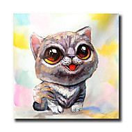 Ζωγραφισμένα στο χέρι Αφηρημένο / Ζώο / Κινούμενα σχέδια ελαιογραφίες,Μοντέρνα Μονόπτυχα Καραβόπανο Hang-ζωγραφισμένα ελαιογραφία For