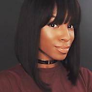 Femme Perruque Naturelles Dentelle Cheveux humains Full Lace Densité Raide Perruque Noir de jais Noir Marron foncé Châtain Court Mi Longue