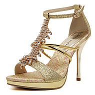 נשים-עקבים-PU-עקבים / נעלים עם פתח קדמי / פלטפורמה / סנדלים-זהב-חתונה / שמלה / קז'ואל / מסיבה וערב-עקב סטילטו