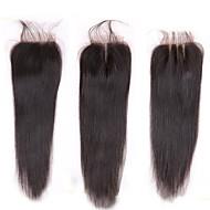 8-20inch #1B Håndknyttet مستقيم Menneskehår stenging Medium brun Sveitsisk blonde 40-60g/pcs gram Gjennomsnitt Cap Size