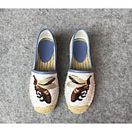 Loafers og Slip-ons-Kanvas-Lukket tå-Dame-Hvid-Udendørs-Flad hæl