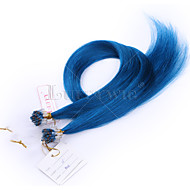 10a haut grade extensions micro-cheveux boucle couleur bleue 8-28inch droite de 100 g 100% cheveux brésiliens