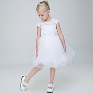 Ball Gown Knee-length Flower Girl Dress - Lace / Tulle Sleeveless Jewel with Appliques / Beading