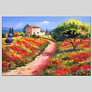 Pintados à mão Paisagem Pinturas a óleo,Modern / Clássico / Tradicional / Realismo / Mediterrêneo / Pastoril / Estilo Europeu 1 Painel