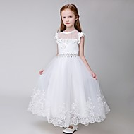 Ball Gown Ankle-length Flower Girl Dress - Tulle Sleeveless Jewel with Appliques / Beading